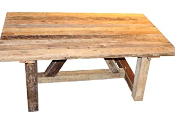 Table A Manger 300x100cm Bois Massif Recycle Brut