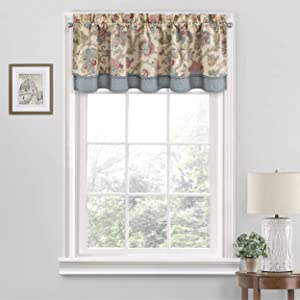 "Waverly Arezzo Short Valance Small Window Curtains Bathroom, Living Room and Kitchens, 52"" x 18"", Giardino"