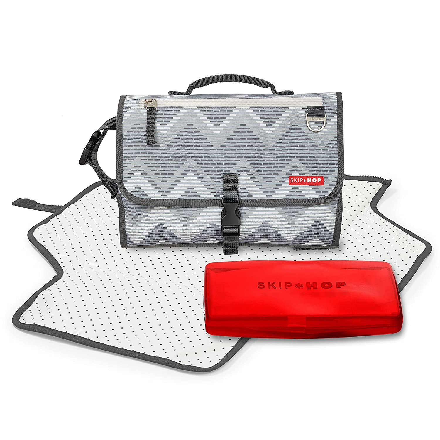 Grey Melange Cushioned Diaper Changing Pad with Built-in Pillow Skip Hop Pronto Signature Portable Changing Mat