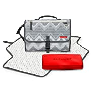 Skip Hop Pronto Signature Portable Changing Mat, Cushioned Diaper Changing Pad with Built-in Pillow, Mosaic Chevron