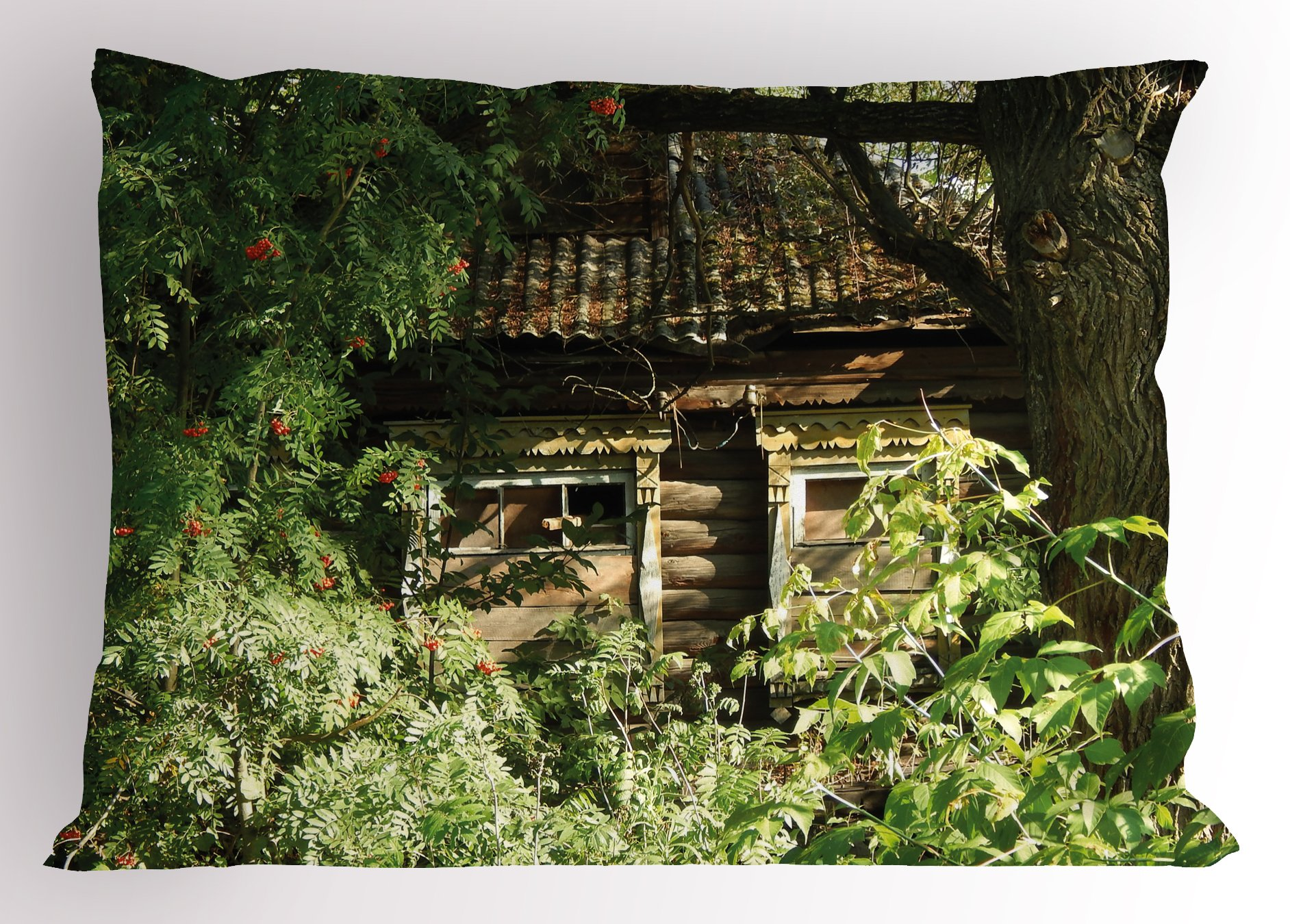 Lunarable Rustic Pillow Sham, Abandoned Cute Oak Cottage in Bushes Ferns Wood Land Camouflage of Nature Theme, Decorative Standard King Size Printed Pillowcase, 36 X 20 inches, Green Brown