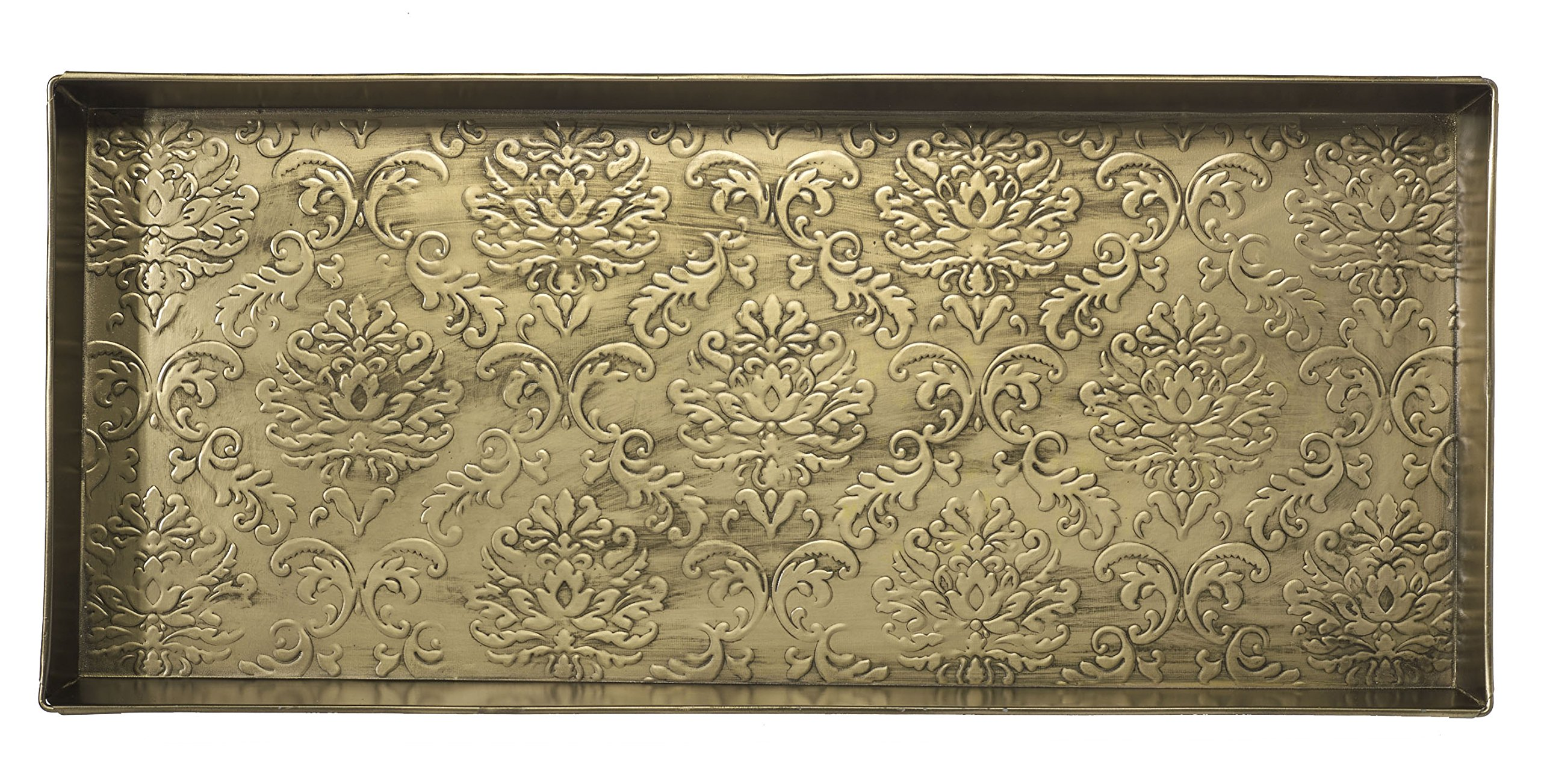 HF by LT Damask Pattern Metal Boot Tray, 30'' by 13'', Antique Brass Finish