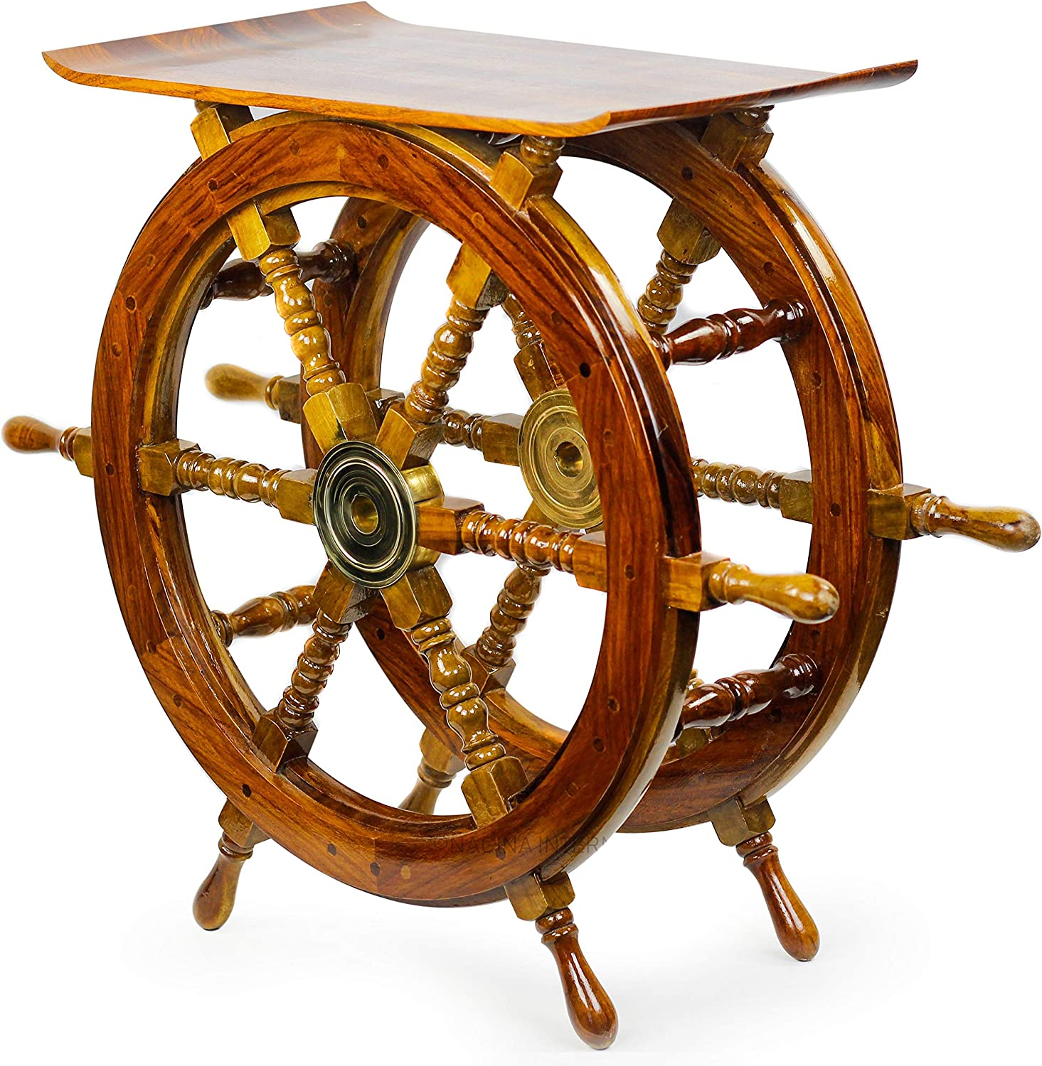 Nagina International, Handmade Indian Sheesham Pirate Ship Wheel End Table or Nautical Side Table Perfect Display Unit