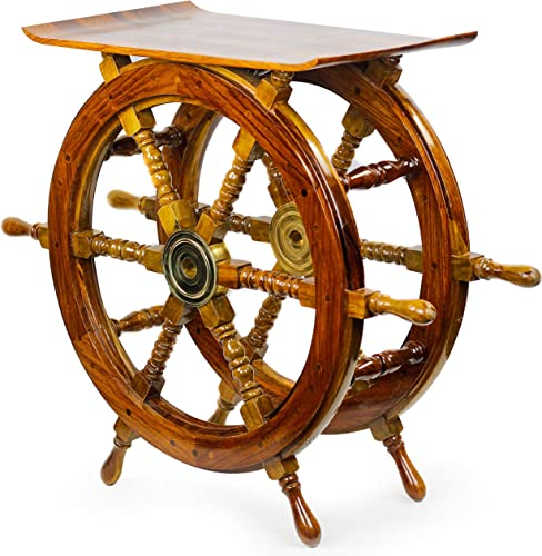 Nagina International, Handmade Indian Sheesham Pirate Ship Wheel End Table or Nautical Side Table Perfect Display Unit