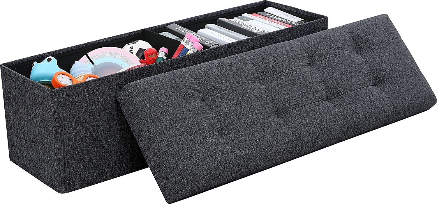 "Ornavo Home Foldable Tufted Linen Large Storage Ottoman Bench Foot Rest Stool/Seat - 15"" x 45"" x 15"" (Black)"