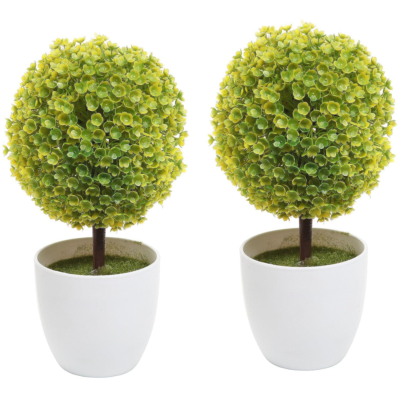 Künstliche Tischpflanze, 2Stück, in weißem Topf, Formschnitt 2 Stü ck in weiß em Topf MyGift FBA_TB-DECO0194YEL
