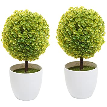 Amazoncom Set of 2 Artificial Faux Potted Tabletop Yellow