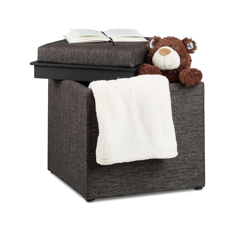 Relaxdays Storage Ottoman, HxWxD: 42 x 40.5 x 40.5 cm, Storage Box, Footrest w/ Tray, Footstool Pouffe, Fabric Look, Black 10021201_46