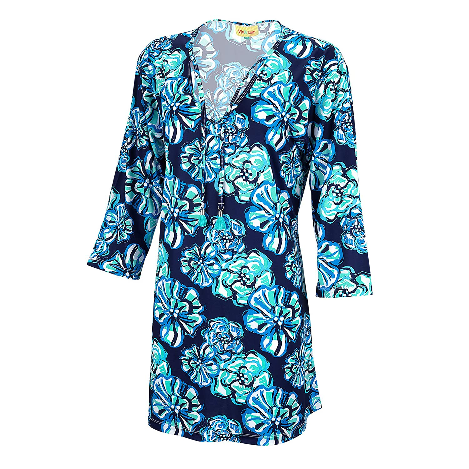 Wholesale Boutique Malibluee Tassel Floral bluee Polyester Fabric Womens' Tunic Dress