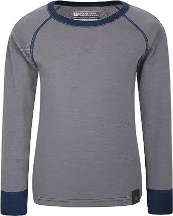 Mountain Warehouse Camiseta térmica Lana Merino para niños con Cuello Redondo - de Mangas largas, cálida, Transpirable, Camiseta para niños de Secado rápido