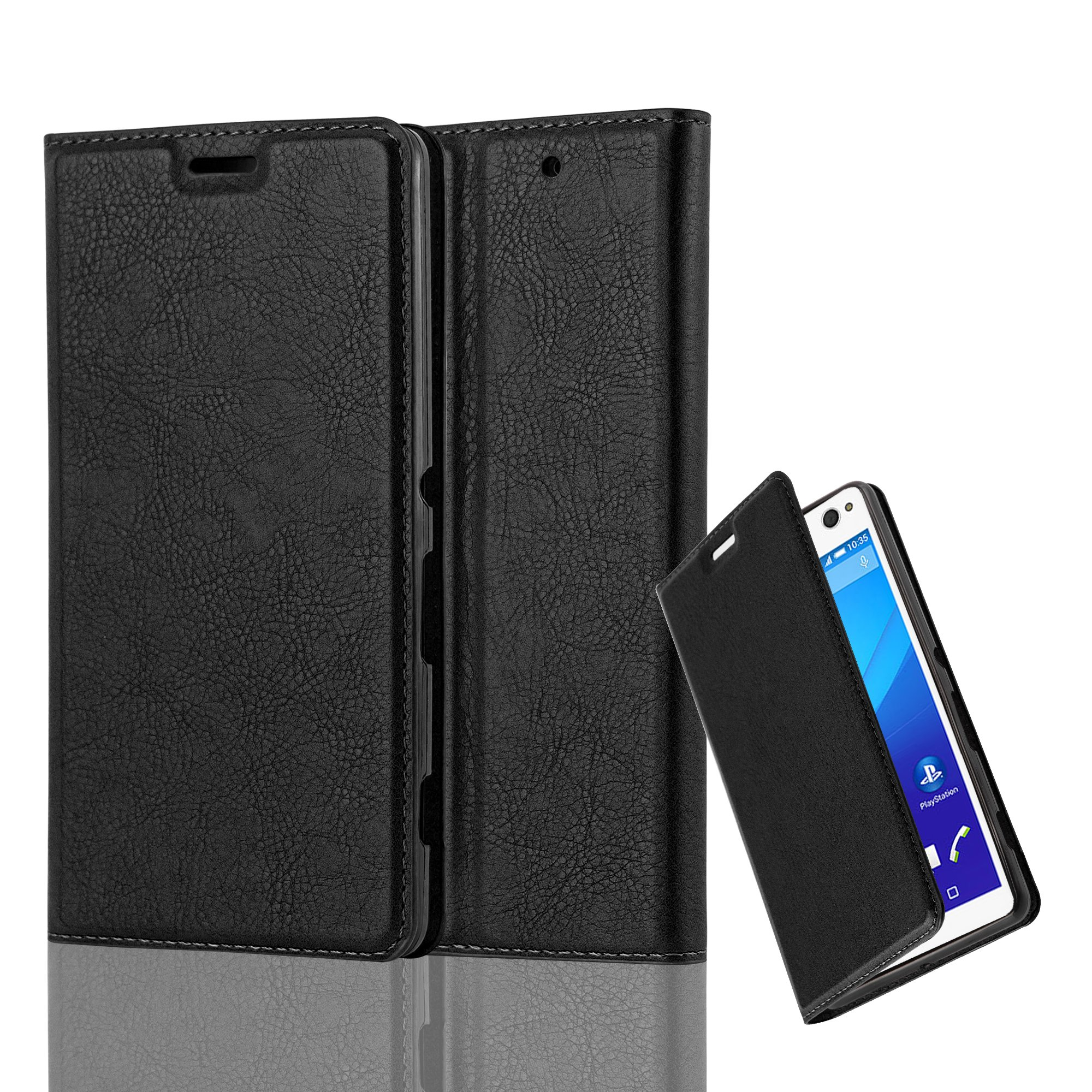 Cadorabo Case works with Sony Xperia C4 Book Case in NIGHT BLACK (Design INVISIBLE CLOSURE) – with Magnetic Closure, Stand Function and Card Slot – Wallet Case Etui Cover PU Leather