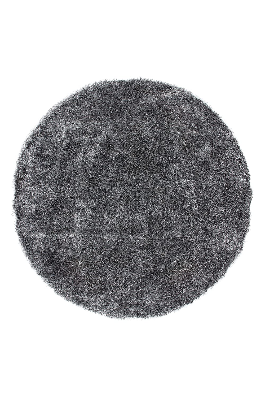 Kayoom Teppich Diamond 700 Grau Weiß Grau Weiß Ø 160cm Rund 100% Polyester