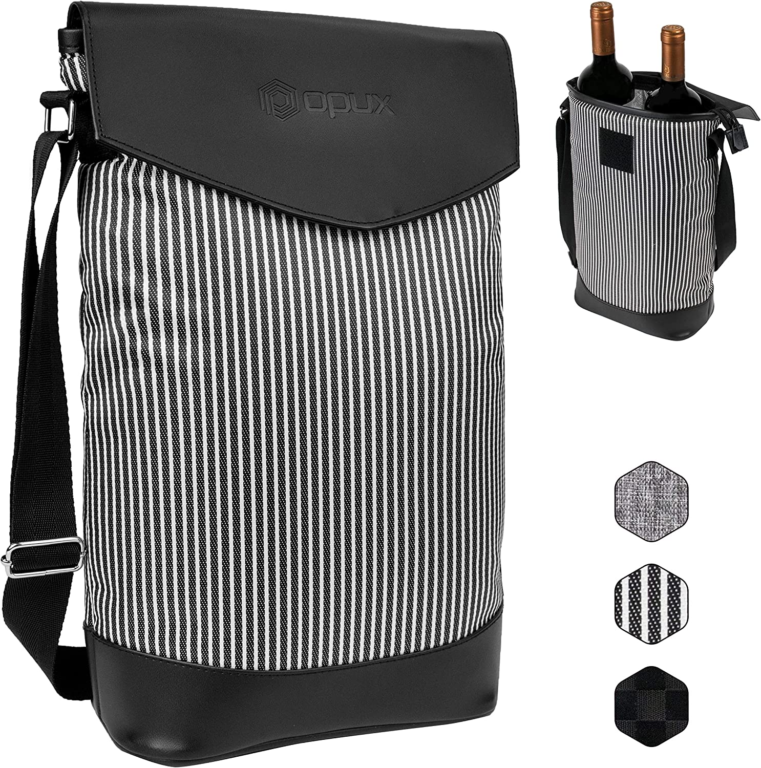 OPUX Insulated 2 Bottle Wine Carrier | Wine Tote Cooler Bag with Shoulder Strap, Padded Protection | Portable Wine Cooler Carrying Bag for Travel Picnic – Black/White Stripes