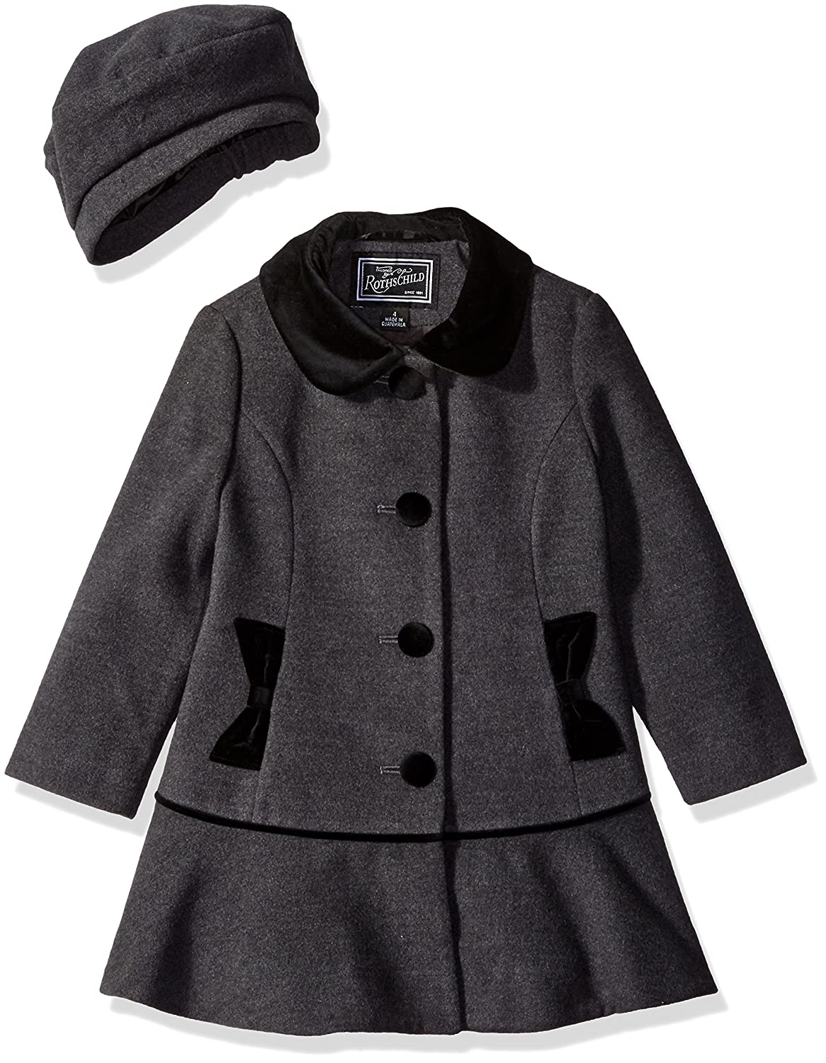 Rothschild Girls Faux Wool Coat with Velvet Bow