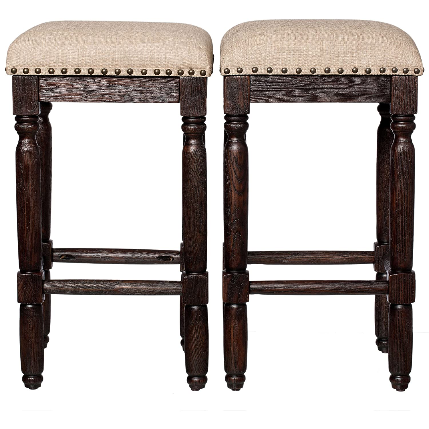 Terrific Wooden Barstools With Cushion Set Of 2 Espresso Wood Finish Backless Counter Height Rustic Vintage Bar Stools Included Mousepad Espresso Linen Beatyapartments Chair Design Images Beatyapartmentscom