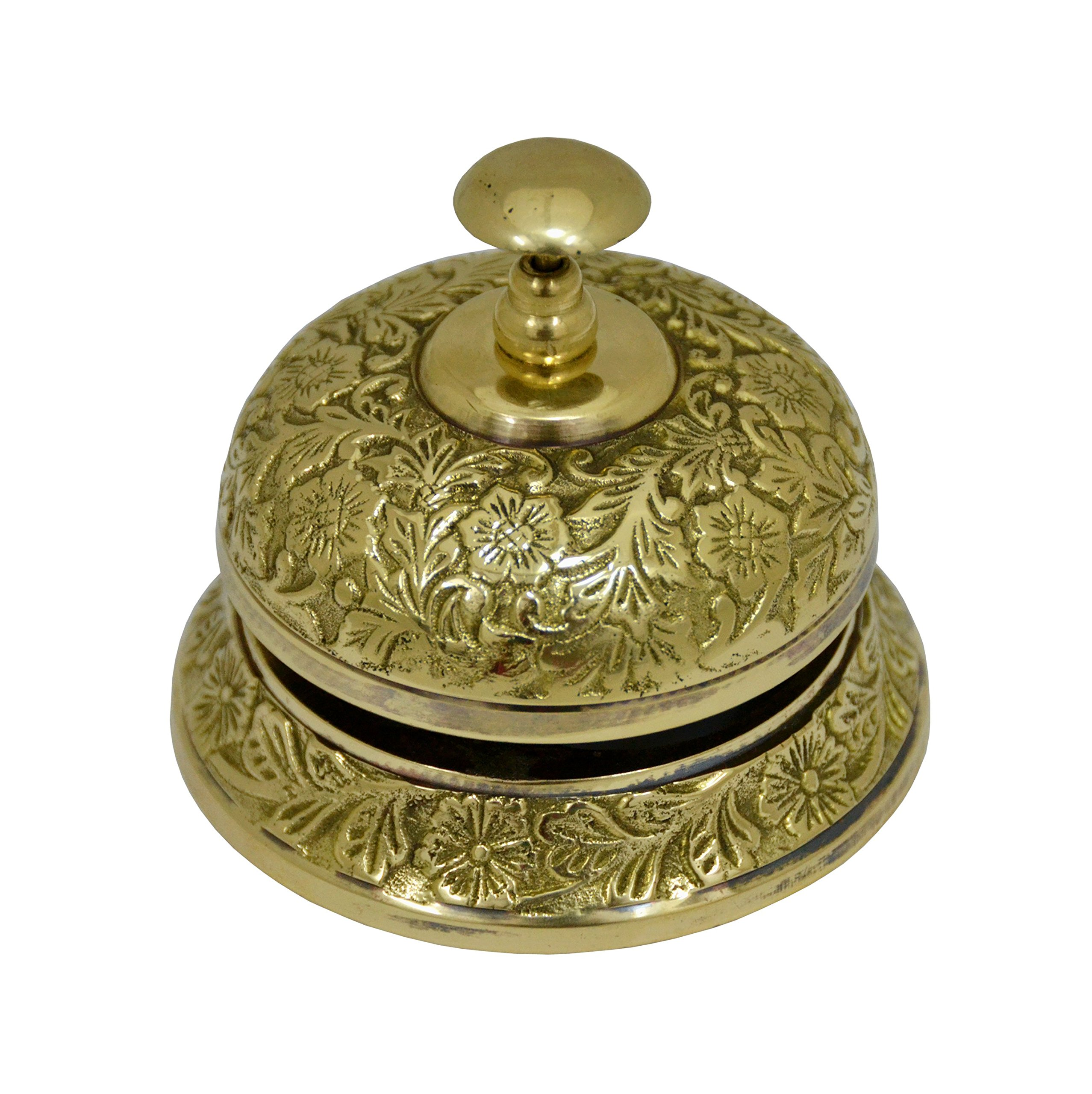 Brass Nautical Brass Ornate Service Desk Bell Hotel Counter Bell - 3.75 inches