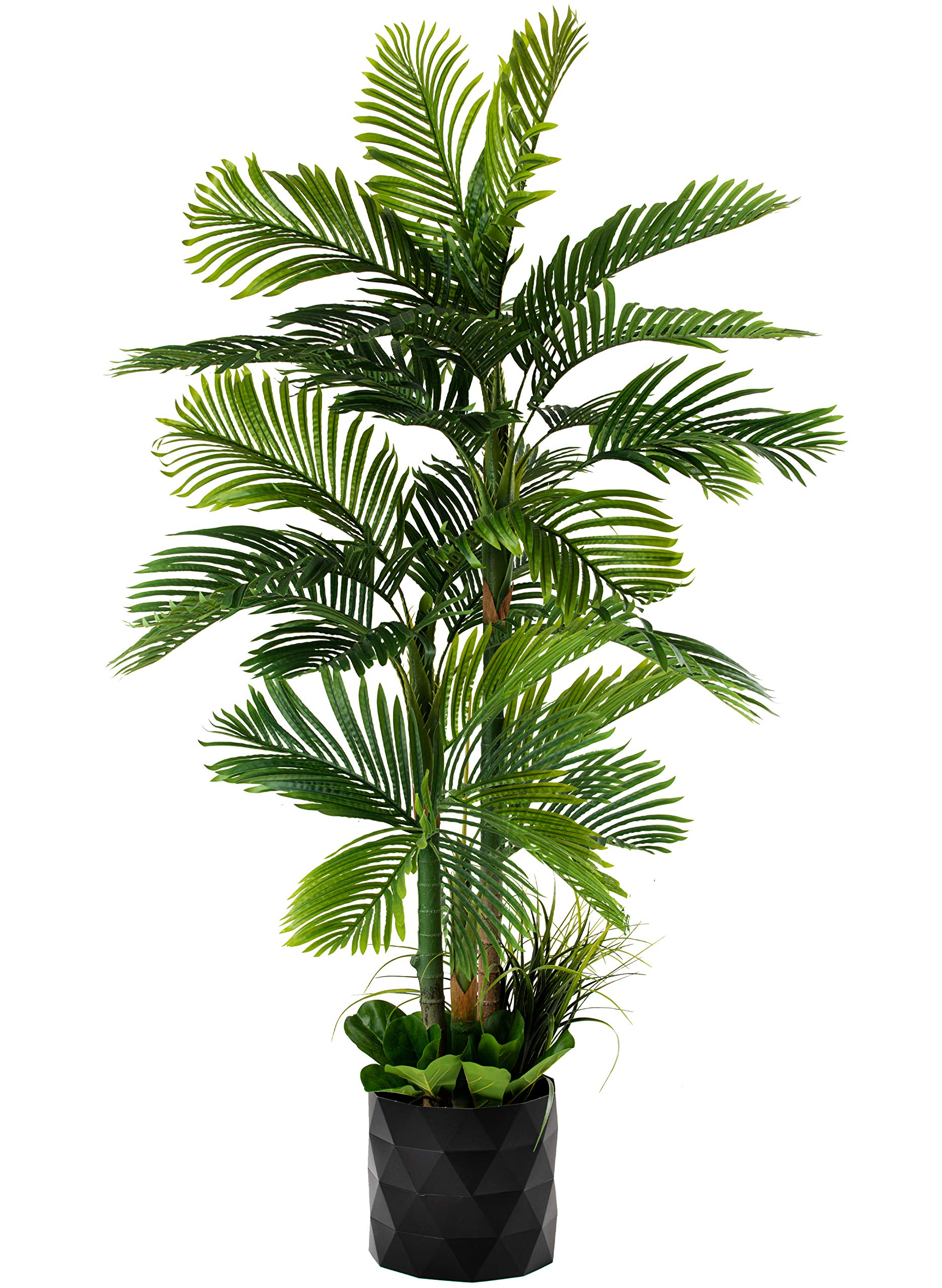 """GARDEN COUTURE Deluxe 78"""" Golden Cane Palm Silk Artificial Tree + Premium Fiddle Leaf Foliage in 8"""" Base + 12"""" Plant Pot Skirt"""