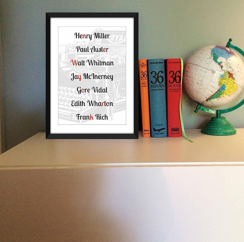 Impresión de la tipografía de los escritores de Nueva York, Unframed Print: Amazon.es: Handmade