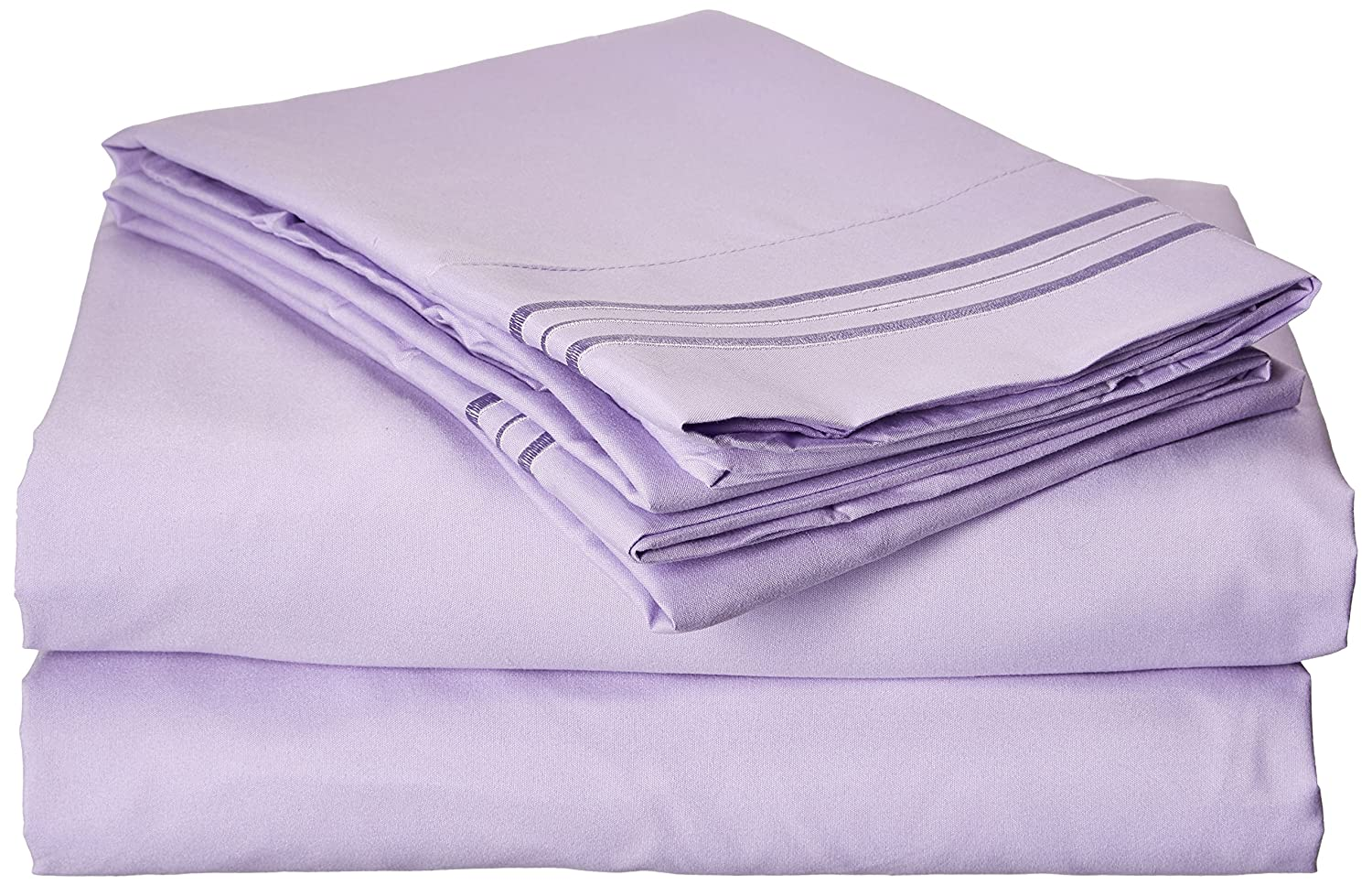 Clara Clark Premier 1800 Collection 4pc Bed Sheet Set - Queen Size, Lavender