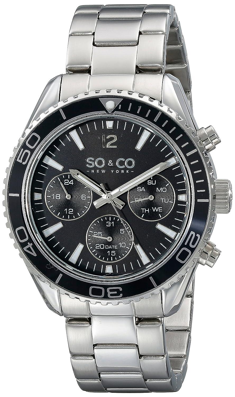 SO&CO New York 5026.1 Herren Armbanduhr - unidirektional - schwarze LÜnette - GMT - Tag und Datum - Edelstahl - Gliederarmband