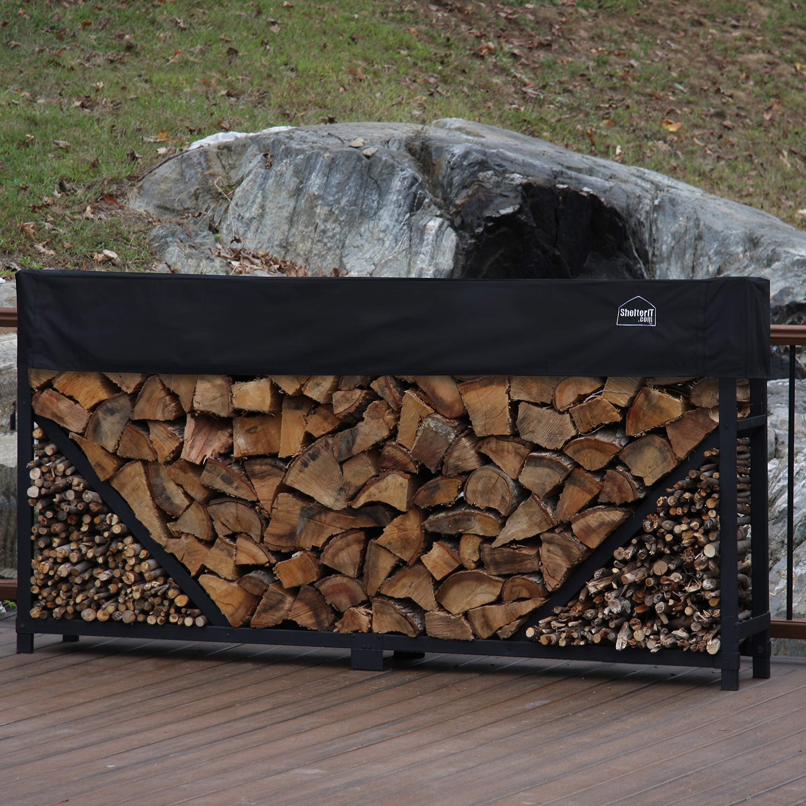 Shelter It 23808 Straight Kindling Kit and 1' Cover Log Rack, 8', Black by Shelter It