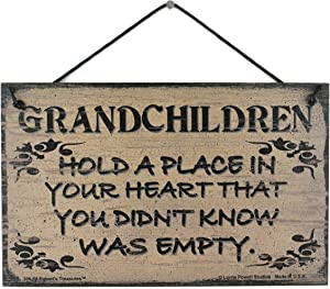 """5x8 Vintage Style Sign Saying, """"GRANDCHILDREN Hold A Place In Your Heart That You Didn't Know Was Empty."""" Decorative Fun Universal Household Family Signs for Grandparents Grandma and Grandpa (5x8)"""