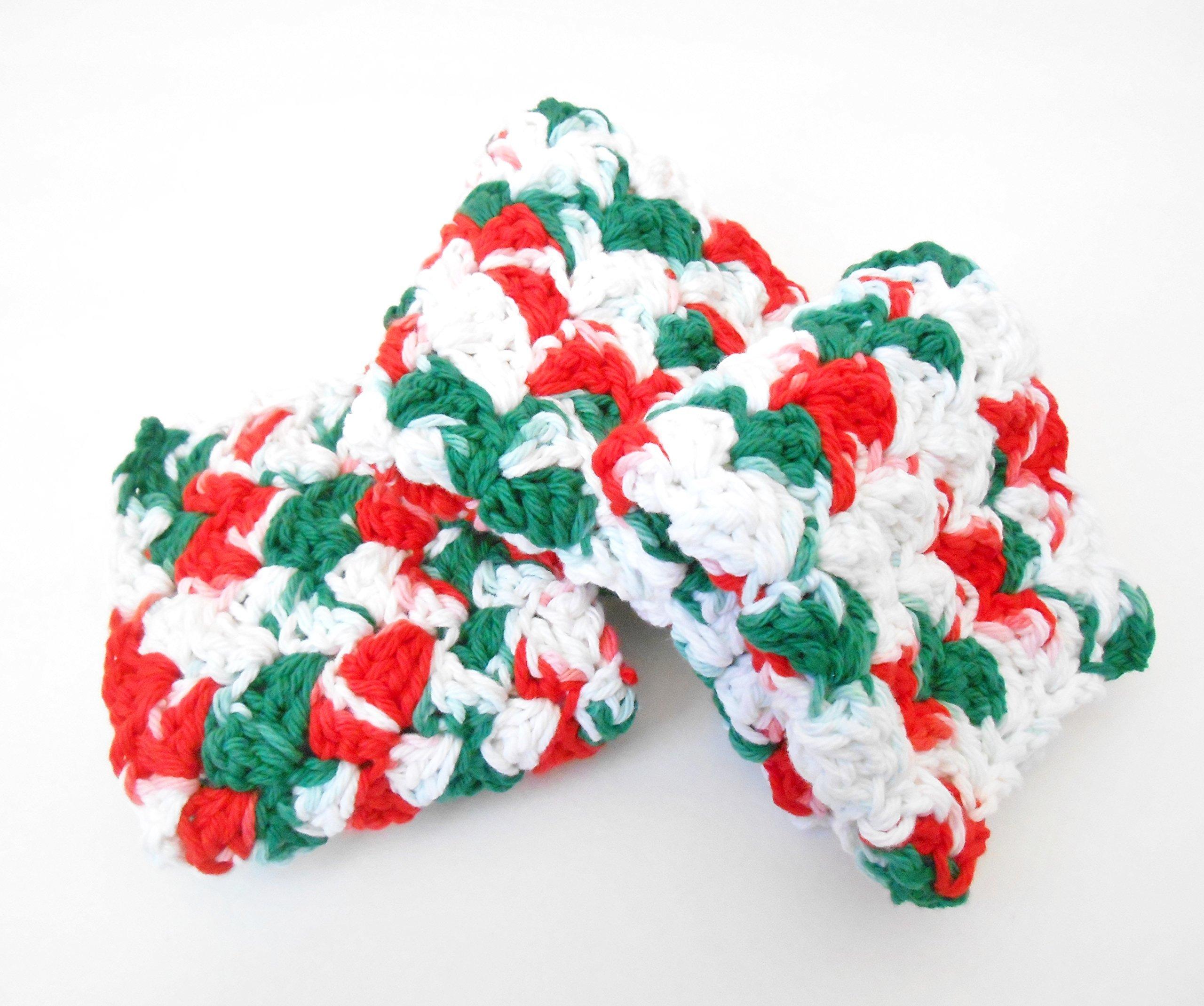 Crochet Christmas Kitchen Dishcloths, Set of Three