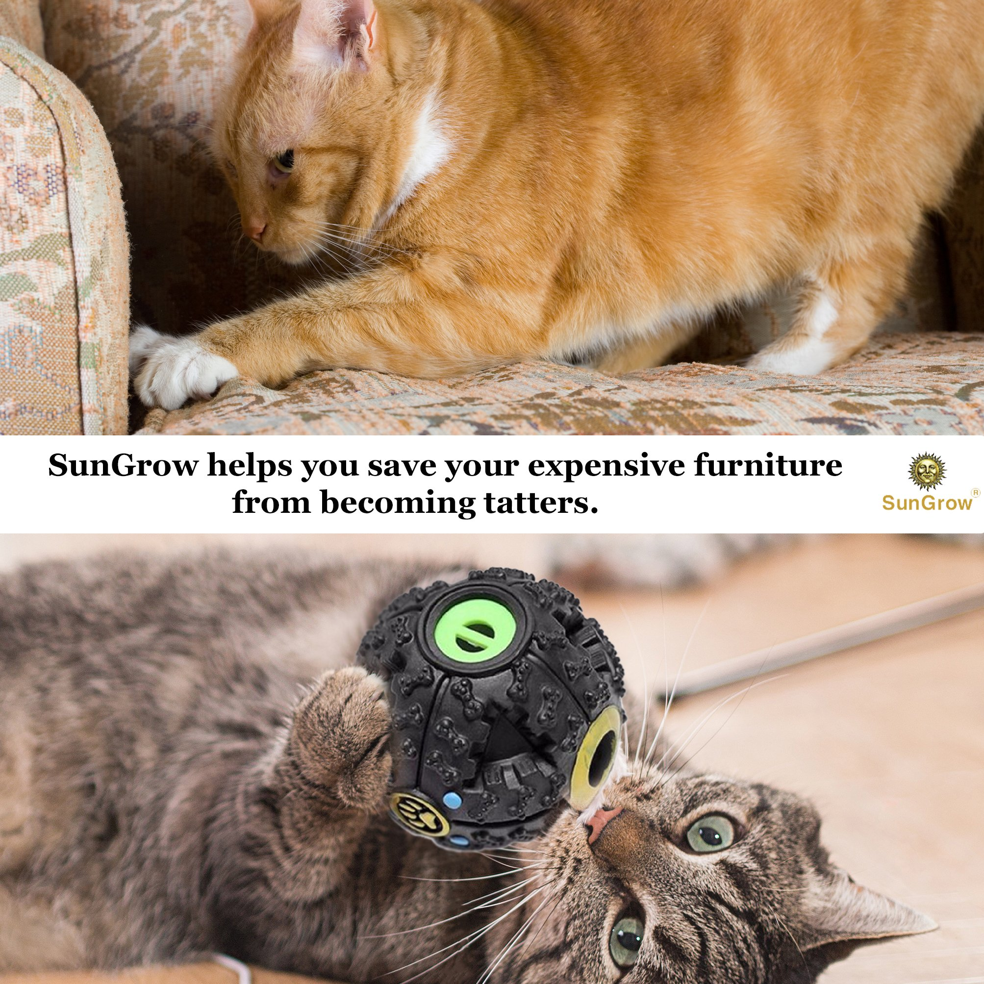 """Fun & Entertaining Food Dispenser Ball for Cats by SunGrow (4"""") - Physically and Mentally Stimulating: Non-Toxic, Easy to Clean, Lightweight Cat Toy : Promotes Healthy Teeth and Gums"""