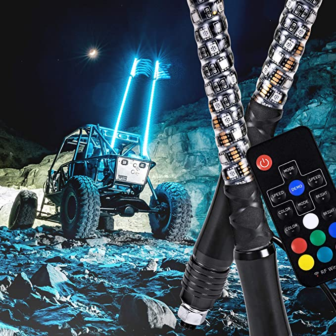 5FT, RGB LED Light Whip TheOne Super Bright Double Rope RGB with Upgraded Quick Connect LED Sand Flag Antenna for Polaris RZR UTV ATV Racing Motorcycle Offroad Truck Boat