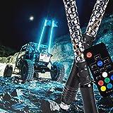 2pc 3ft Spiral LED Whip Lights for UTV ATV [21 Modes] [20 Colors] [RF Wireless Remote] [Weatherproof] [USA Flag] LED…