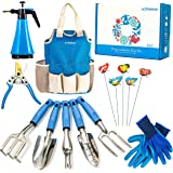 Kit4Pros Garden Tool Set Gardening Gifts for Women & Men & Birthday | Heavy Duty Tools Kit | Pruning Shears | Gardener Gloves| Sprayer| Weeder| Trowel| Storage Tote Bag Organizer