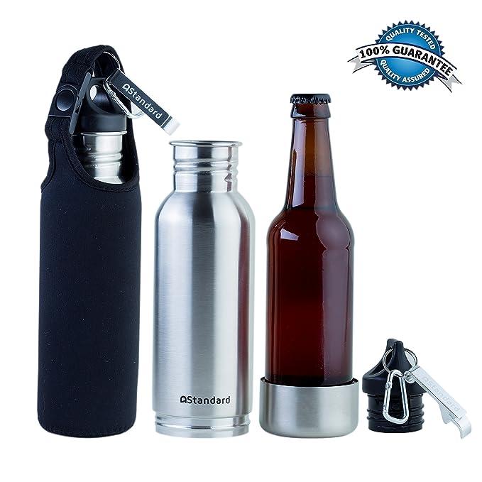 Compra astandard aislado botella Carrier funda y abridor de botellas, enfriador de botella de cerveza, botella de termo, de acero inoxidable + libre con ...