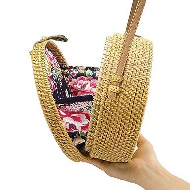 4637ed8bed2c5 Amazon.com  Handwoven Round Rattan Bag Shoulder Leather Straps ...