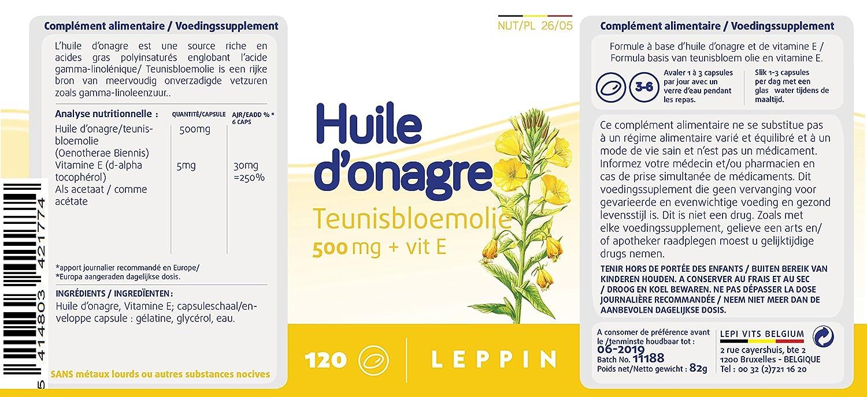 Leppin - Aceite de onagro 500 mg + Vit E 120 Cápsulas aceites (- Equilibre femenino - Suplemento naturales: Amazon.es: Salud y cuidado personal