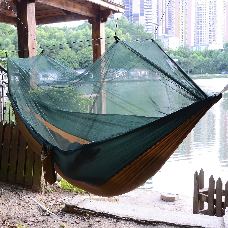muy ligera multifunci/ón acampadas Hamaca port/átil doble Qyuhe/® viajes para usar al aire libre con cuerda para colgar y mosquetones