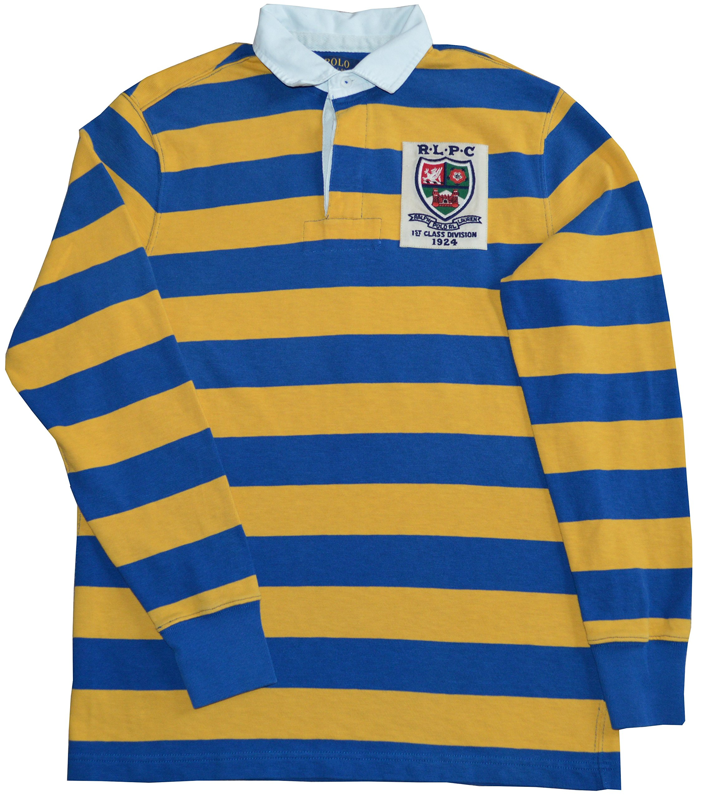 Polo Ralph Lauren Men's Custom-Fit ''RLPC''-Crest Striped Rugby Shirt-NY-M