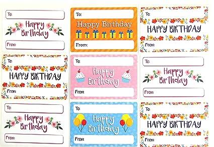 Feliz cumpleaños y regalo Etiquetas Etiquetas autoadhesivas ...