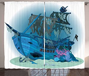 Ambesonne Pirate Ship Curtains, Sunken Old Wrecked Buccaneer Vessel Antique Aquatic Underwater View, Living Room Bedroom Window Drapes 2 Panel Set, 108 W X 63 L Inches, Blue Pink
