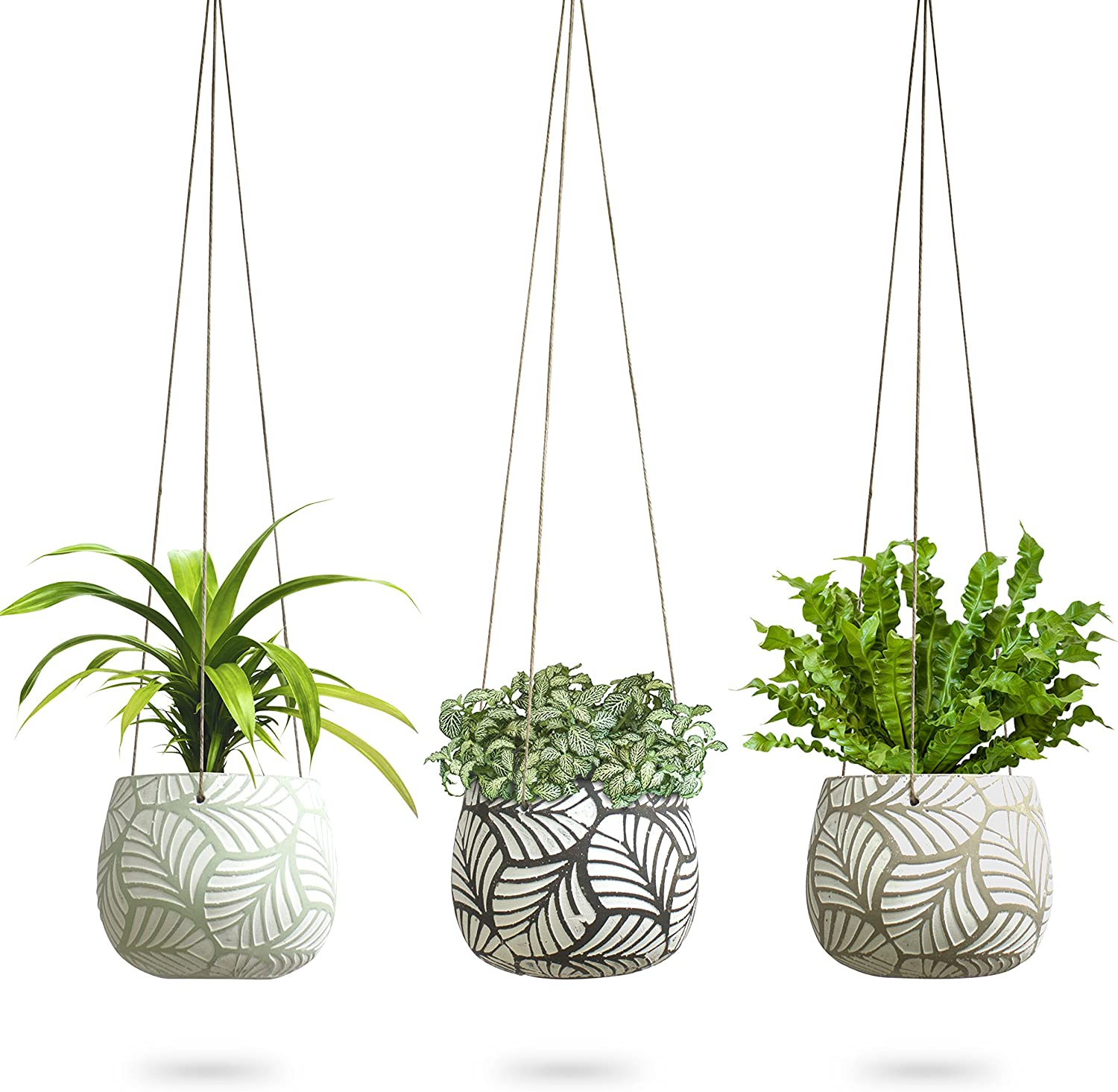 3 Pack Hanging Planter for Indoor Plants, White Concrete Pots, Round Air Succulent Holder Container, Cactus Pot with Rope Hanger 23 Bees (3, Leaves of Nature)