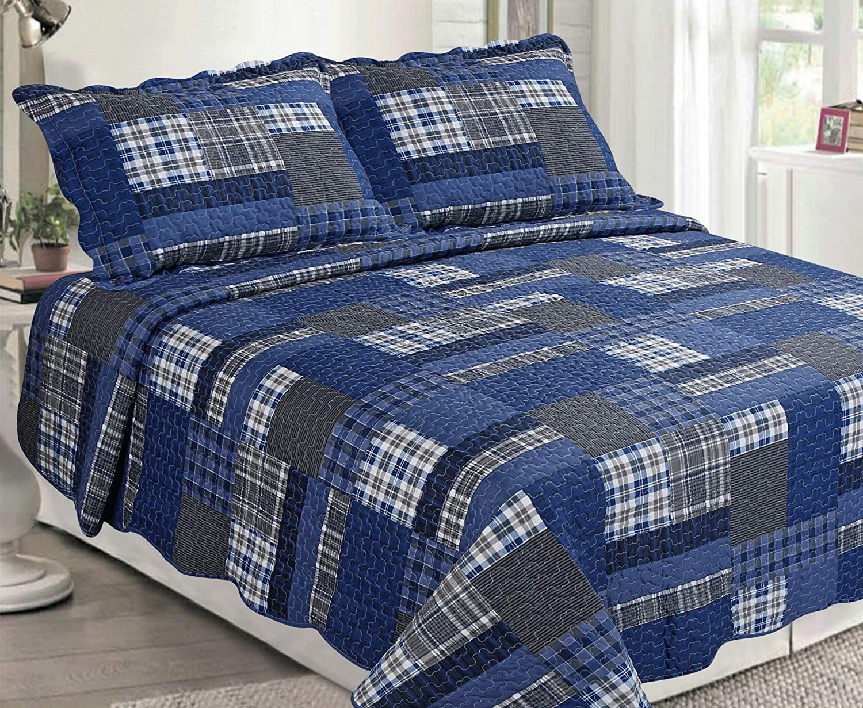Sapphire Home 3 Piece Queen Size Bedspread Coverlet Quilt Bedding Set w/2 Pillow Shams, Patchwork Dark Blue Plaid, Queen XJ2135