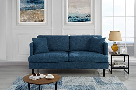 Modern Upholstered Loveseat Sofa/Couch (Blue)