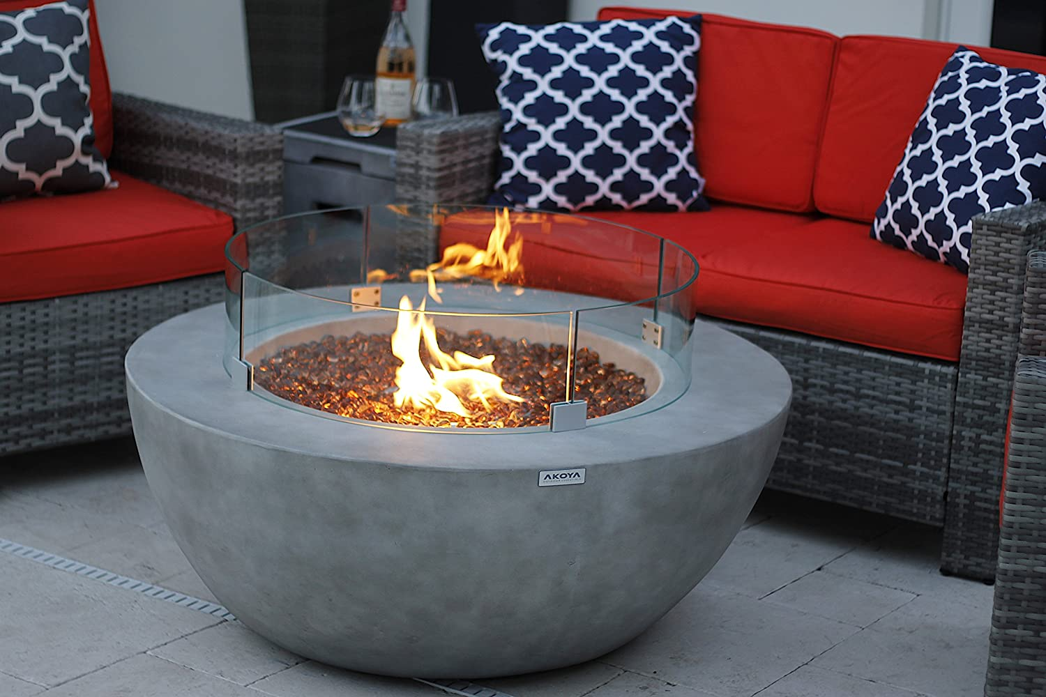 AKOYA Outdoor Essentials 42 Modern Concrete Fire Pit Table Bowl w Glass Guard and Crystals in Gray Clear Crystals