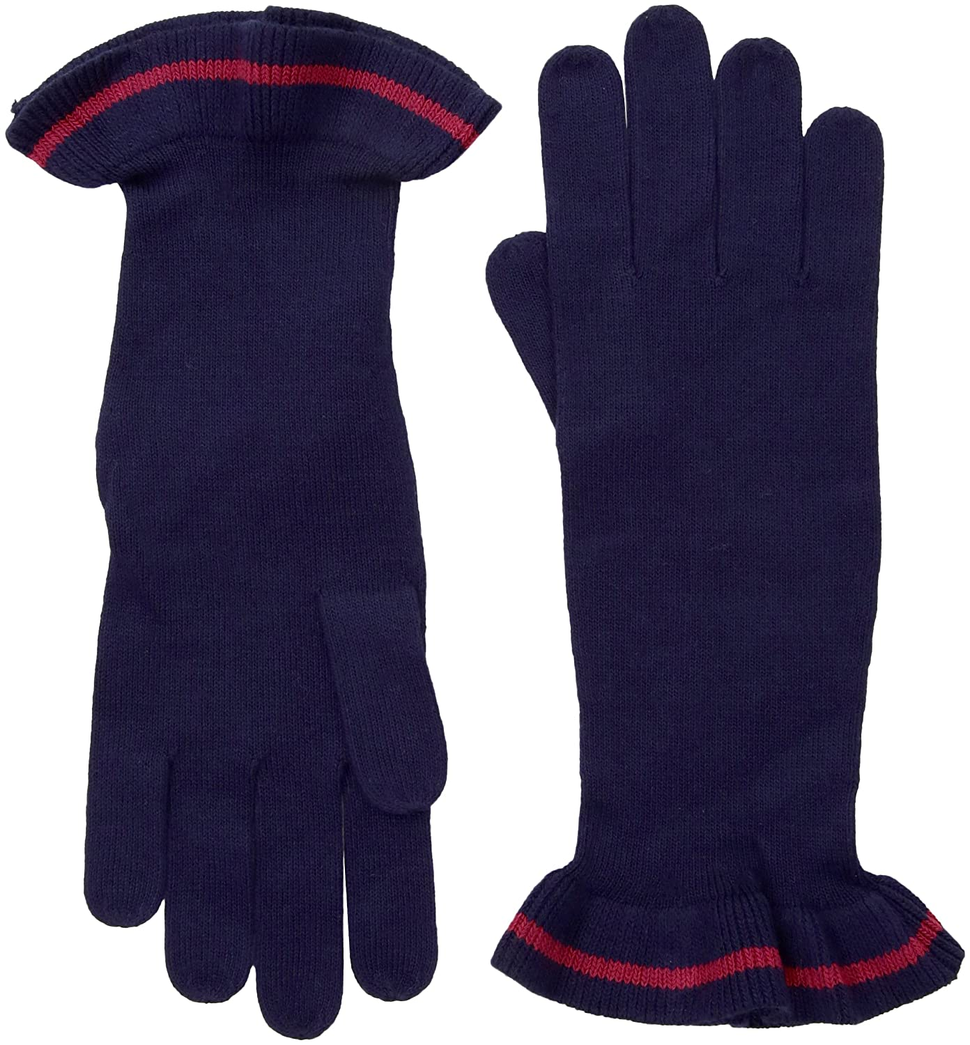 A|X Armani Exchange Women's Knit Glove with Single Stripe Ruffle Trim 6YY483YMF8Z1501