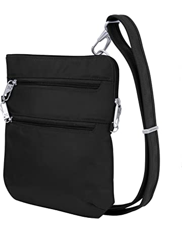 1e867ed02f Travelon Anti-Theft Classic Slim Dbl Zip Crossbody Bag, Black