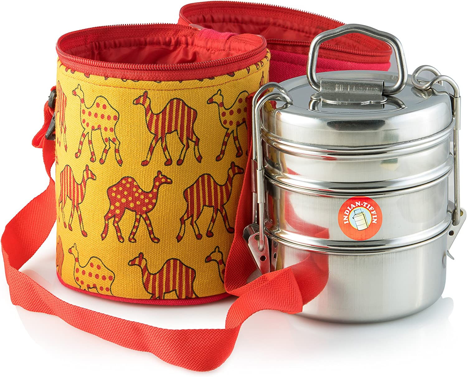 Thermally Insulated Camel Patterned Tiffin Bag Carrier for 3-tier Tiffin by Indian-Tiffin