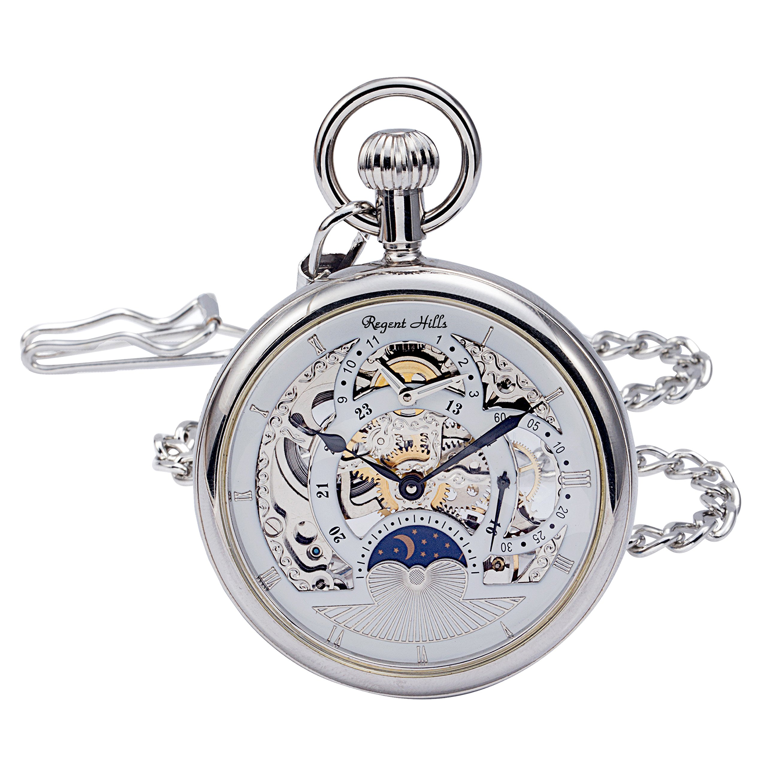 Regent Hills Vintage Silver Open Face Brass Case Skeleton Pocket Watch with Chain 9441CP-IWW22 by Regent Hills