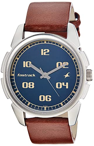 Fastrack Men s Casual Wrist Watch with Analog Function, Quartz Mineral Glass, Water Resistant with Silver Metal Strap Leather Strap