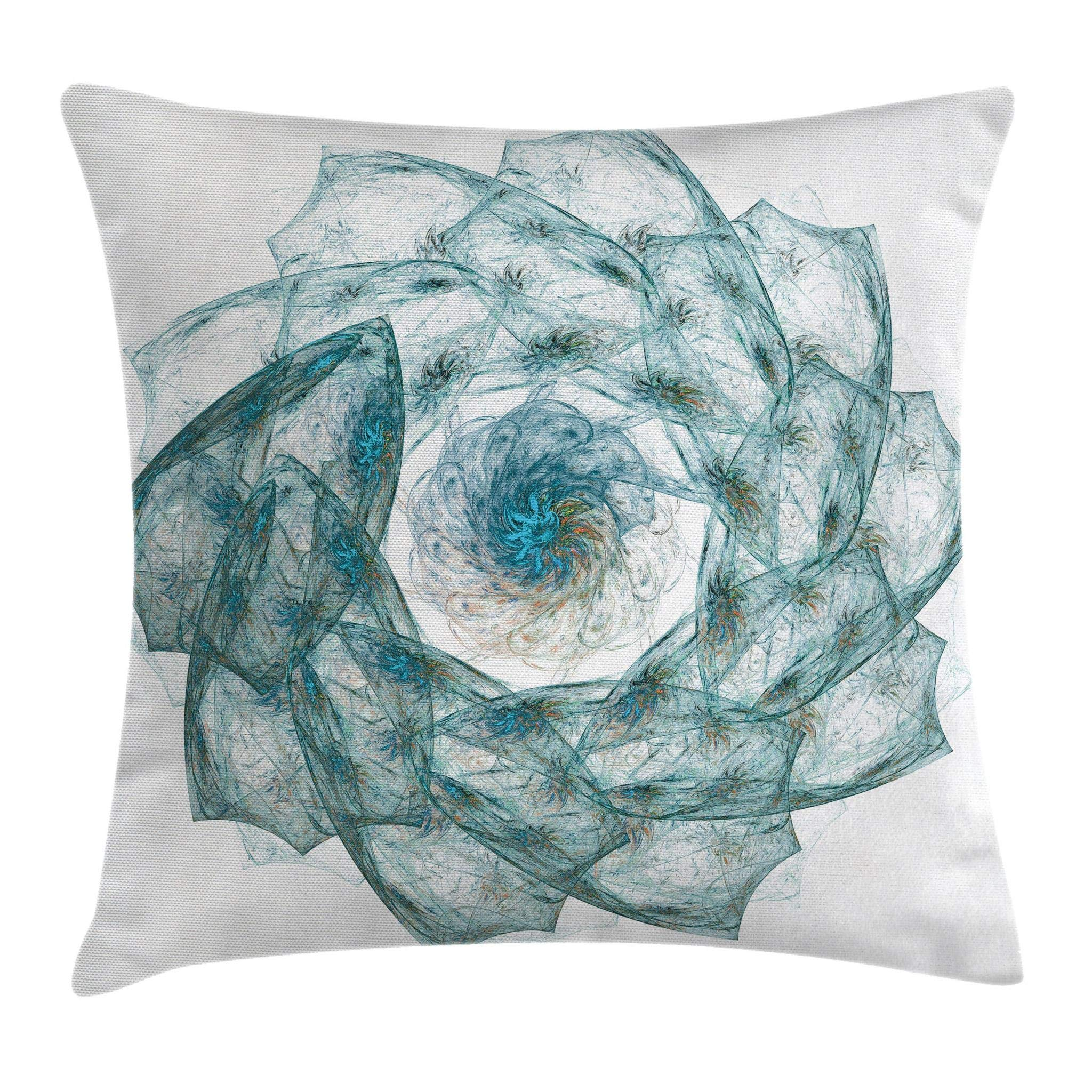 Ambesonne Spires Throw Pillow Cushion Cover, Flower Shaped Spiral Digital Vortex Pattern with Hazy Colored Elements Image, Decorative Square Accent Pillow Case, 20'' X 20'', Teal