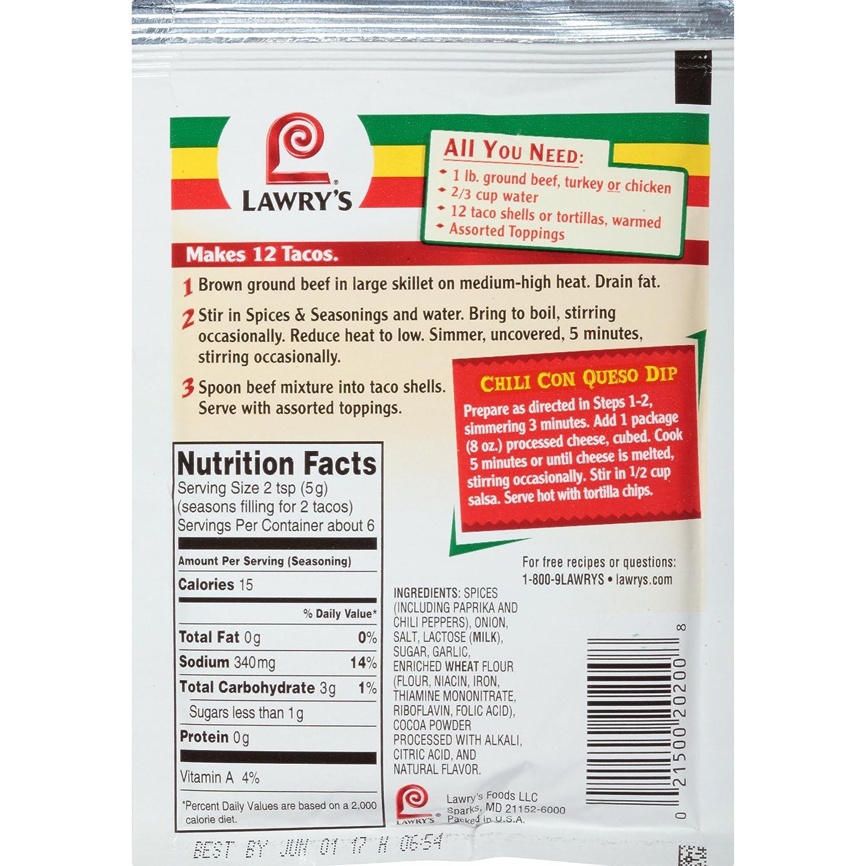 Amazon.com : Lawry\'s Taco Seasoning Mix, 1 oz : Meat Seasonings ...