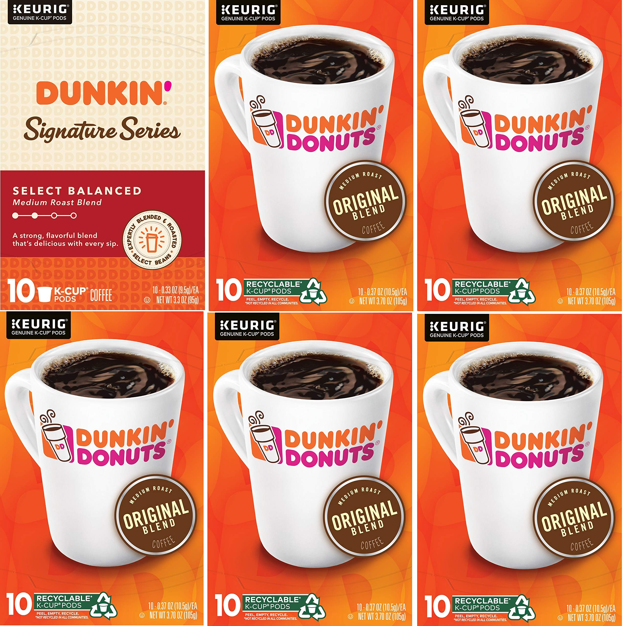 Dunkin' Donuts Donuts Original Blend & Signature Series Select Balanced Blend Medium Roast Coffee, Variety Pack K Cups for Keurig Brewers, Original, 60Count by Dunkin' Donuts